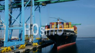 Quayside Container At The Port Seen By Drone