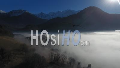 Sea ​​of ​​clouds On The Arve Valley - Video Drone Footage