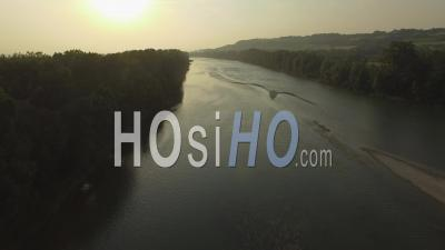 Garonne River At Dusk - Video Drone Footage