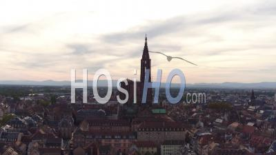 Historic Center And Notre-Dame Cathedral Of Strasbourg - Video Drone Footage