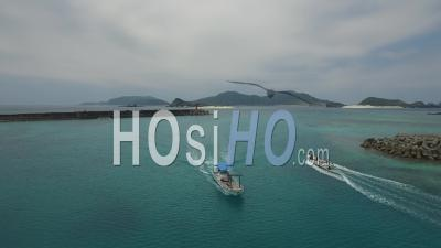 Exit Of The Port Of Zamami - Video Drone Footage