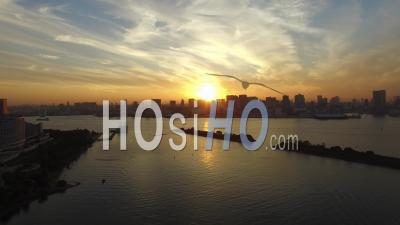 Sunset At The Tokyo Bay, Seen  By Drone.