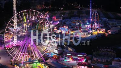 Amusement Park Of Lille At Dusk - Video Drone Footage