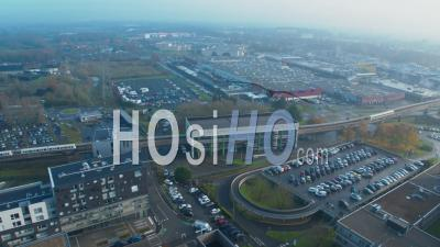 Panoramic Shot Of Lille Metro, Commercial Area And Hospital, Video Drone Footage
