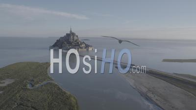Mont Saint Michel Large Shot By High Tide, Viewed By Drone