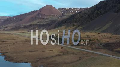 Lake And River Along South Coast Of Iceland, In Winter - Video Drone Footage