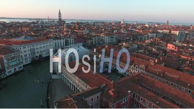 Rialto Bridge And Grand Canal In Venice - Video Drone Footage