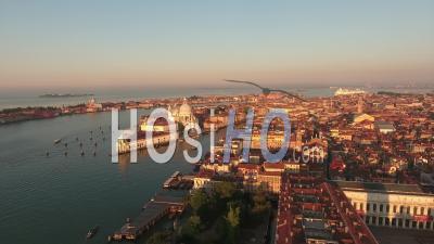 Basilica Santa Maria Della Salute In Venice - Video Drone Footage