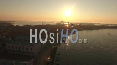 San Marco Basin At Sunrise, Venice - Video Drone Footage