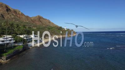 Diamond Head, Lighthouse, Honolulu, Hawaii - Video Drone Footage