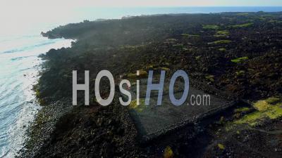 Punaluu, Black Sand Beach, Big Island, Hawaii - Drone Point Of View