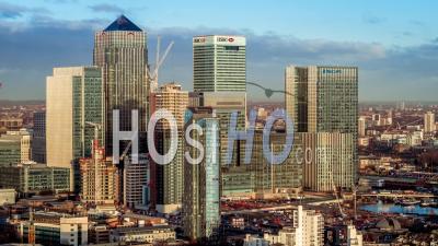 Canary Wharf, London Financial District - Vidéo Drone