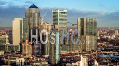 Canary Wharf, London Financial District - Video Drone Footage