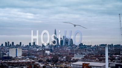 Aerial View Of London Skyline, City Of London, From South London, Typical Cloudy Day, United Kingdom