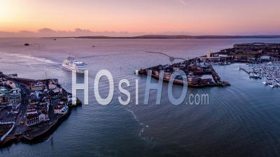 Ferry Entering Port Portsmouth, Portsmouth, Seen By Drone