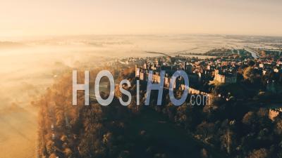 Arundel Castle In Morning Fog - Video Drone Footage