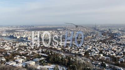 Paris, La Defense, Monuments And Suburbs After A Snowy Morning, Helicopter Point Of View.